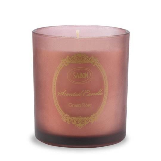 Candle in glass Green Rose L